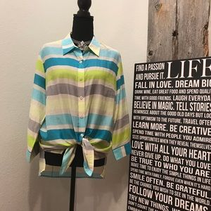 Coldwater Creek vibrant button down striped shirt